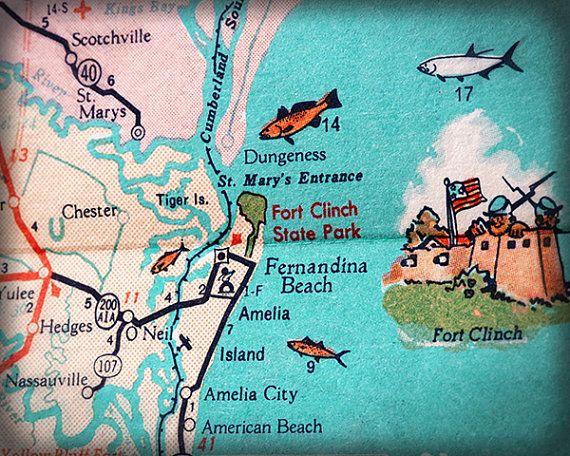 Where Is Amelia Island Florida On The Map.Fernandina Beach Amelia Island Beach Retro Beach Map Print Funky