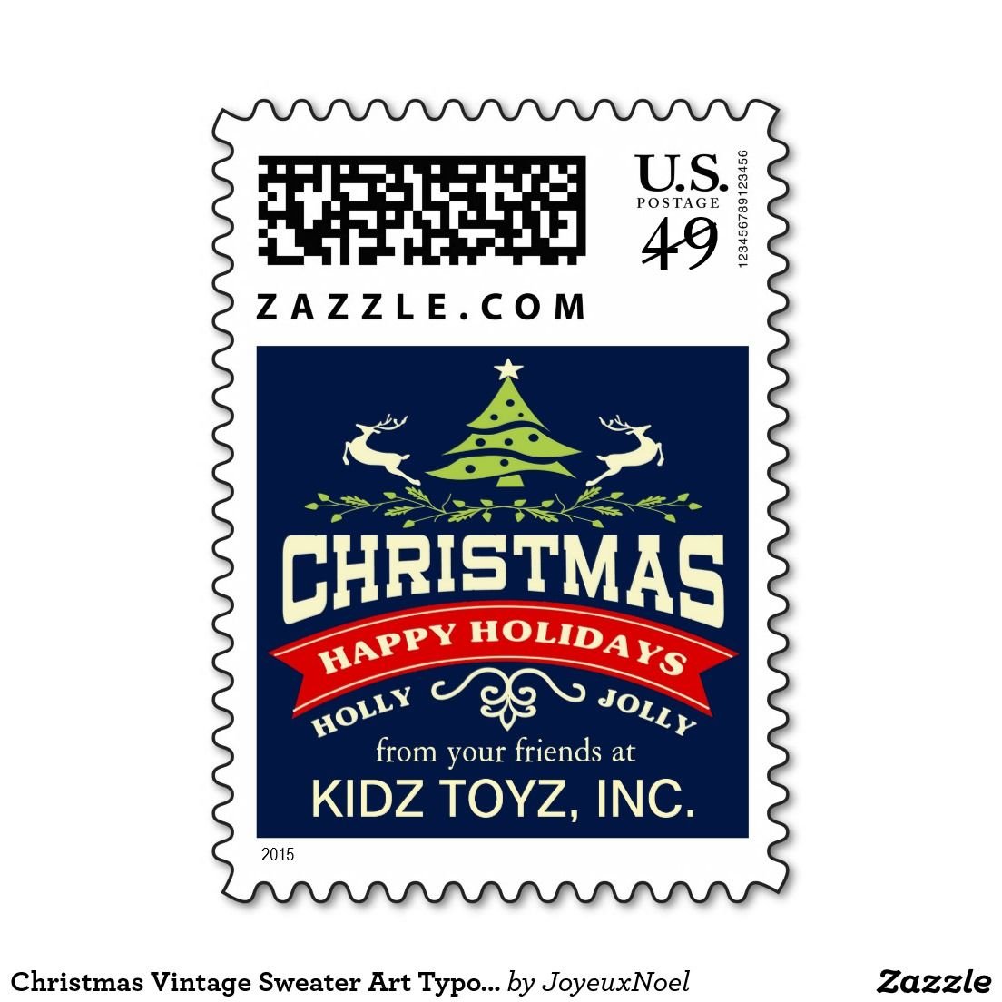 Christmas vintage sweater art typography postage stamps
