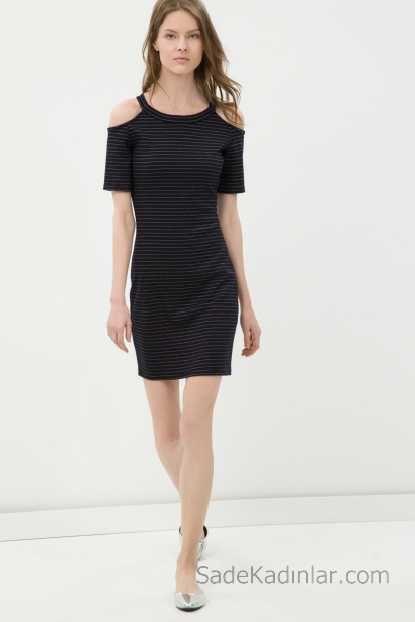 2018 Koton Elbise Modelleri Siyah Kisa Beyaz Cizgili Omuzlari Acik Kisa Kollu Elbise Modelleri Elbise Mini Elbiseler