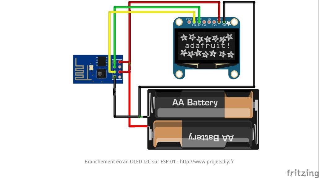 Relier un écran OLED I2C SSD1306 et un ESP-01 (ESP8266 ... on