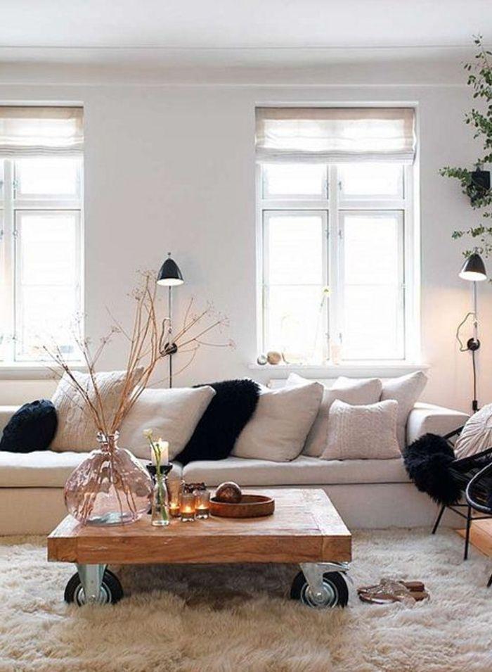 salon avec meubles scandinaves de couleur taupe
