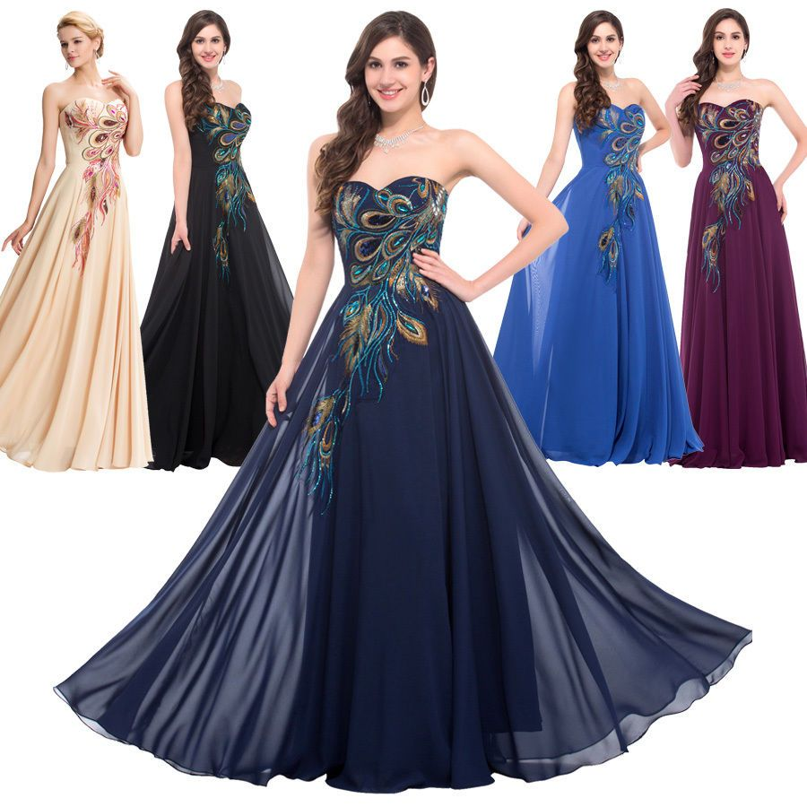 Strapless peacock long prom evening formal dresses purple bridesmaid