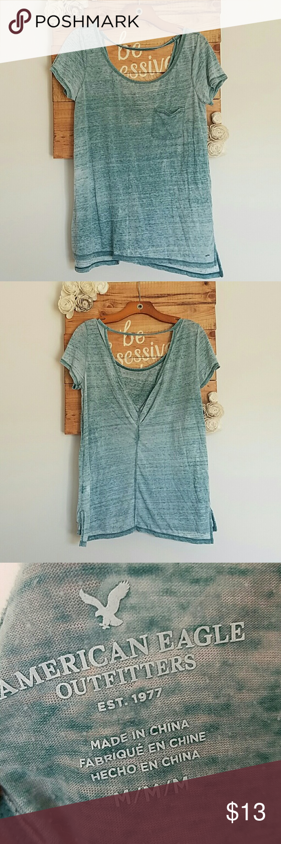 American Eagle pocket t Relaxed fitting pocket t-shirt. Washed out look. Runs a little large. Cutout detail in the back. Between a blue and green color. American Eagle Outfitters Tops Tees - Short Sleeve
