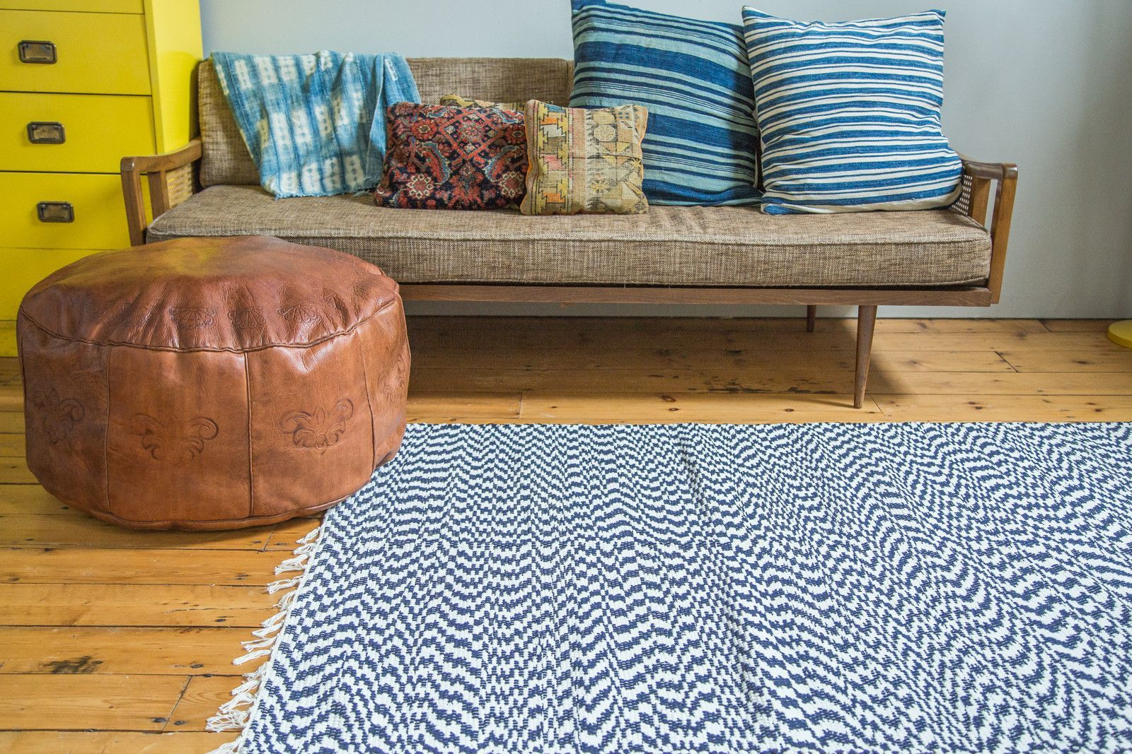 4x6 New Organic Cotton Navy And White Rag Rug Rugs In Living