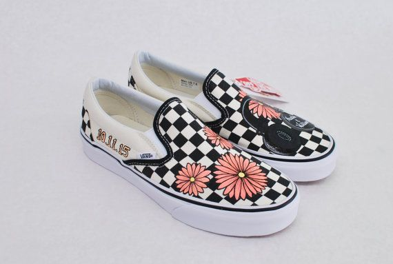 Custom Hand Painted Checkerboard Vans Slip-ons Feature Coral Daisy s ... cfc0aa70d