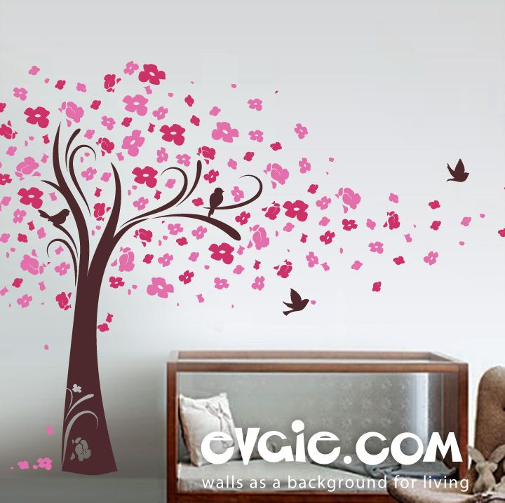 Cherry Blossom Tree Wall Decal   Tree With Birds   EvgieNev Part 60