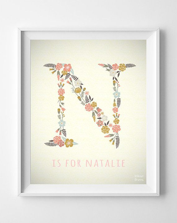 Floral monogram flower art print floral name initial nichole natalie custom name baby art noah nora letter n by inkistprints negle Choice Image