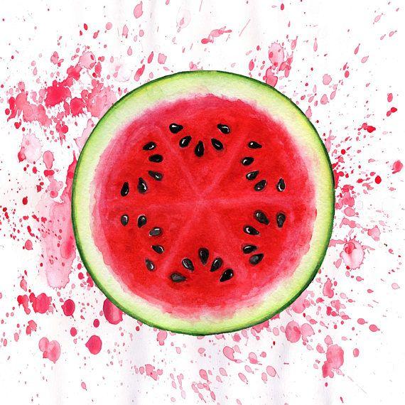Watermelon Watercolor Art Print Food Home Decor Printable