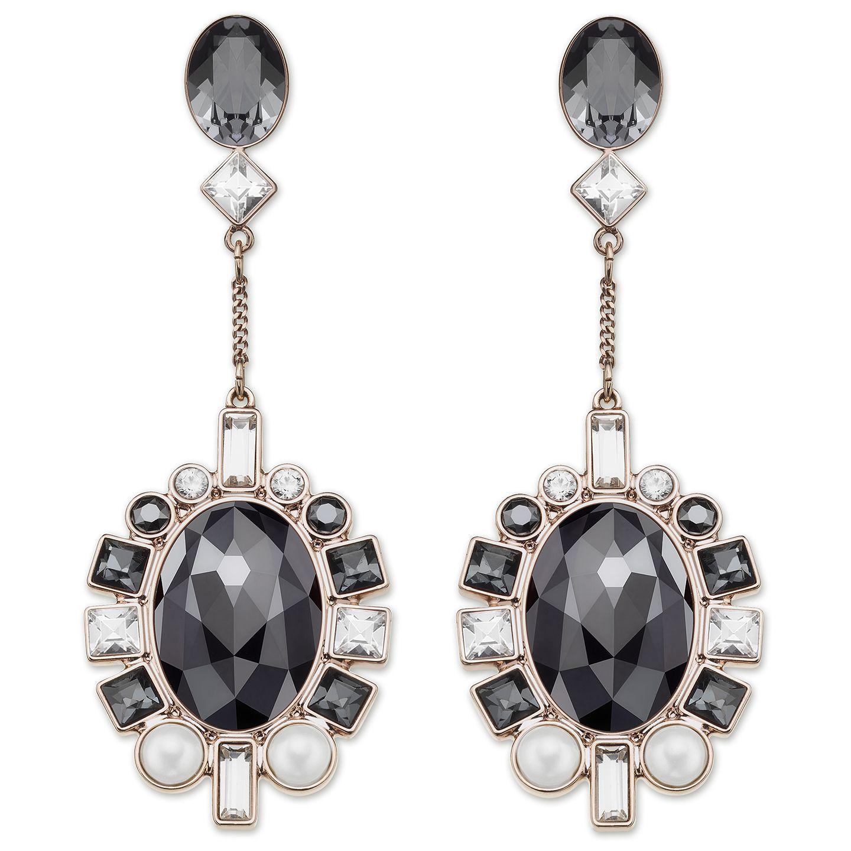 aabf282b9 Swarovski's Venetie Pierced Earrings in rose gold sparkle in clear crystal,  jet hematite and crystal