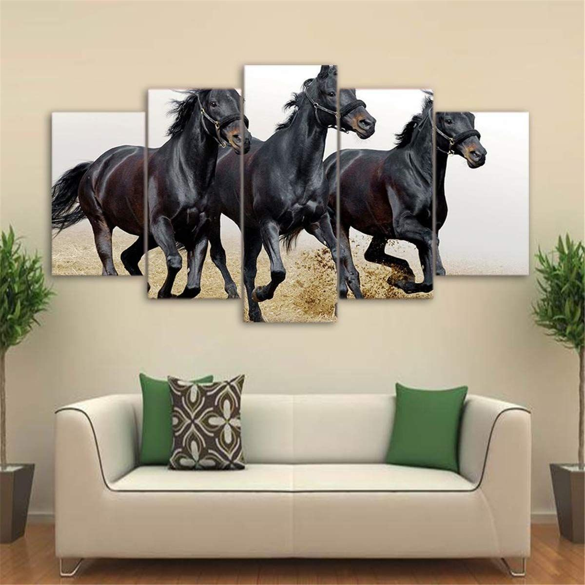 Jesc 3 Black Horses Painting Running Gallop On The Canvas Wall Art 5 Piece Canvas Art Horse Wall Art Canvases Framed Wall Art
