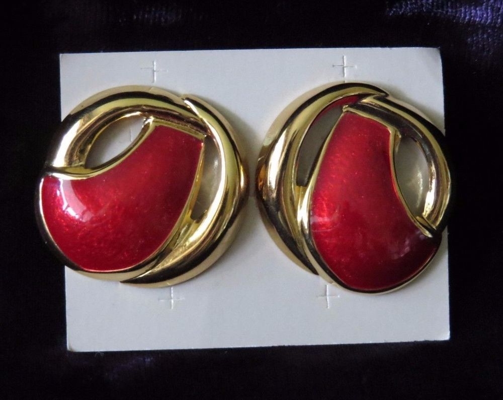 Avon burgundy red gold Autumn Colors Pierced Earrings New costume
