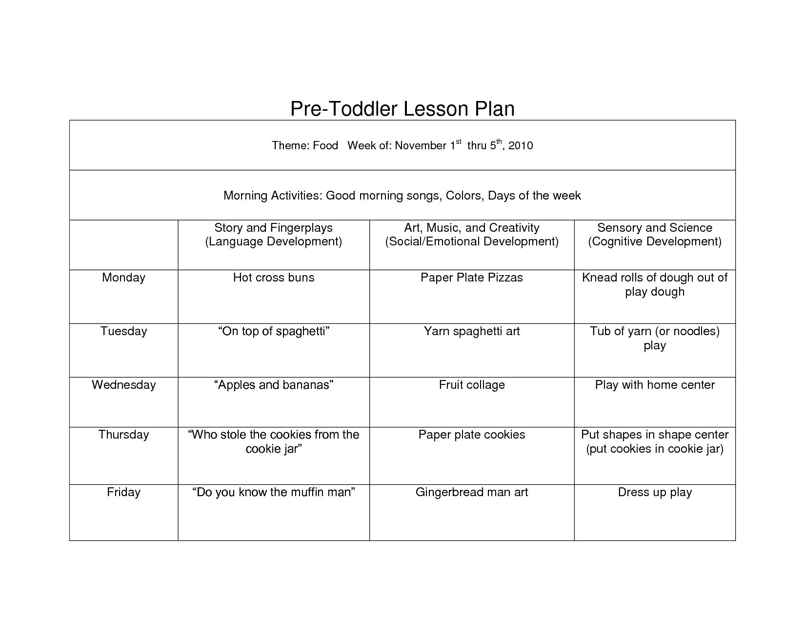 Creative Curriculum Blank Lesson Plan WCC Pre Toddler Curriculum - Creative curriculum lesson plan template for infants and toddlers