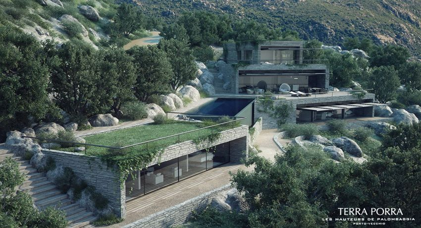 Corsican mountain view villas visualized green roofs villas and architecture