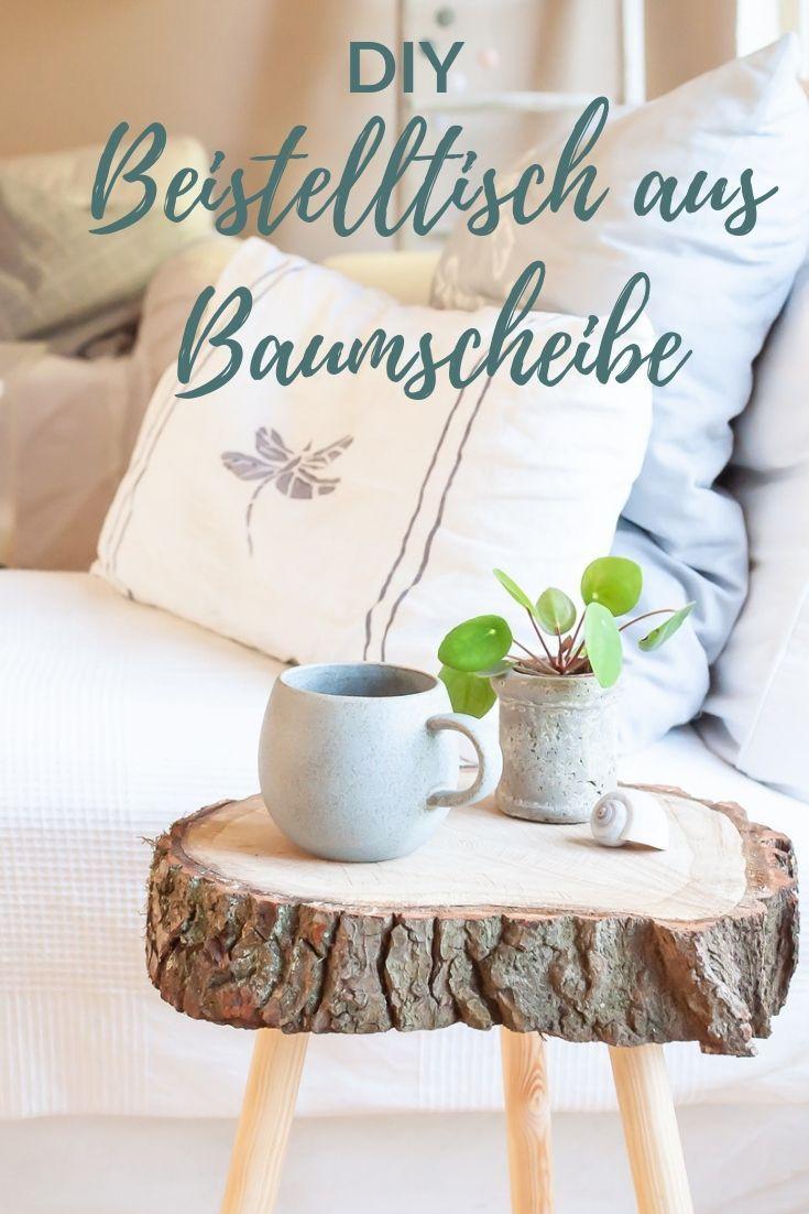 Photo of Beistelltisch selber bauen aus Baumscheibe DIY Smillas Wohngefühl