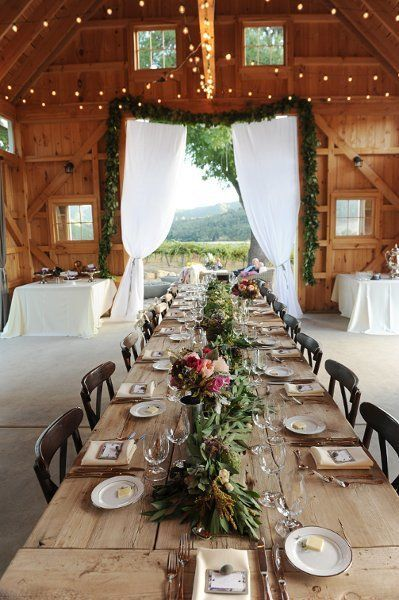 Rustic Wedding Barn Reception, I Love The Idea Of Having Garlands And Curtains Hanging Around The Doors And Fairy Lights Hanging From The Rafters.