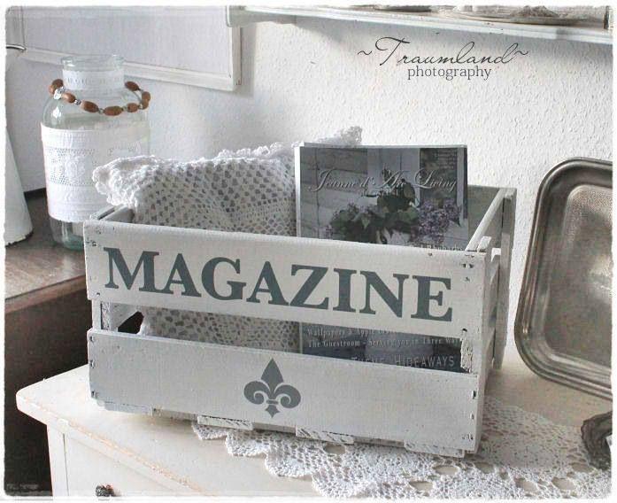 s e idee zum zeitschriften aufbewahren weinkiste bemalen weinkisten pinterest. Black Bedroom Furniture Sets. Home Design Ideas
