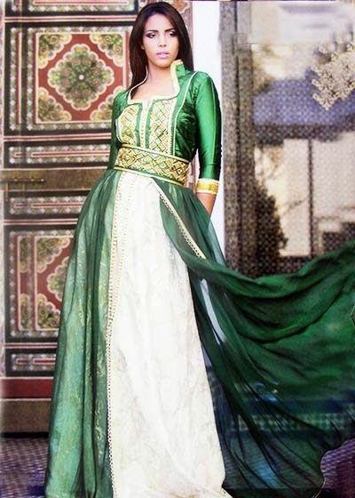ee39ded048a robe caftan blanche avec galon bleu turquoise - Recherche Google ...