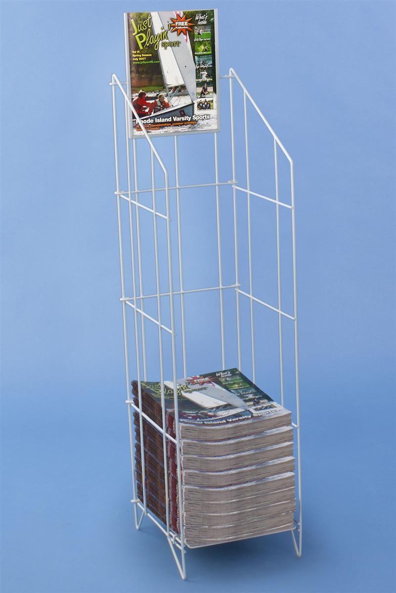 Metal Wire Magazine Floor Stand 8 5 W Sign Header White Magazine Rack Flooring White Magazine Rack
