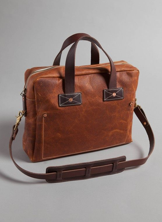 Briefcase made in Tennessee from hand-cut pebble grain tobacco leather - Billy Reid