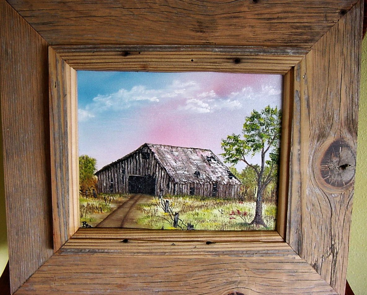 oil painting of an old barn with authentic old barn wood frame crafted by my - Barnwood Frames