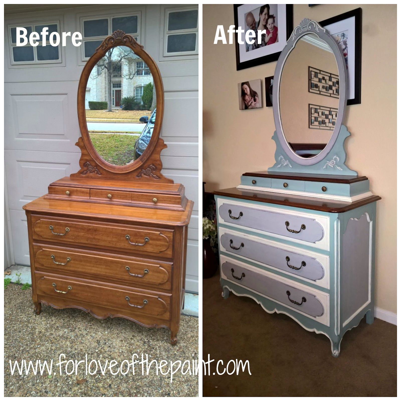 Before And After Vintage Henry Link Dresser And Mirror In Paris Grey Duck Egg Blue And Old White Painted Furniture Colors Colorful Furniture Furniture