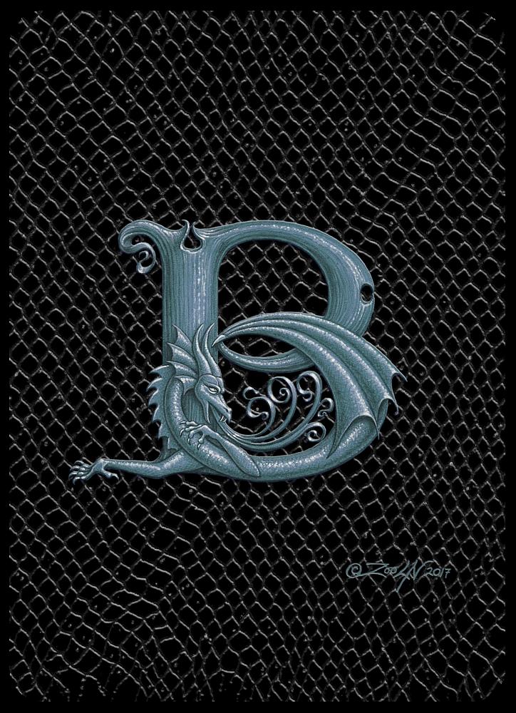 Dragon Letter B 5 X7 Print Silver Letter B Dragon