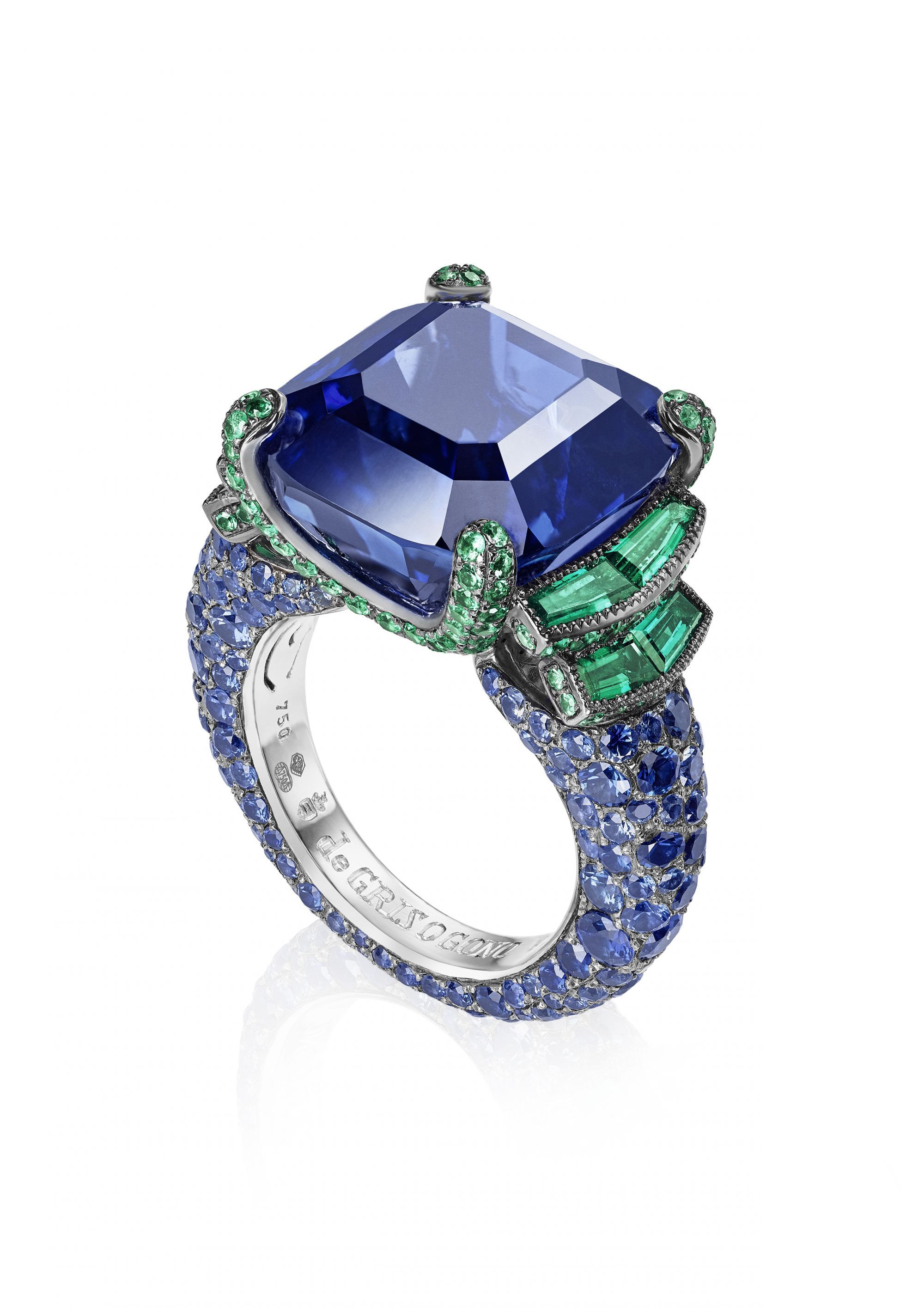buy ring white costagli and blue spinel paolo an emerald cut products gold