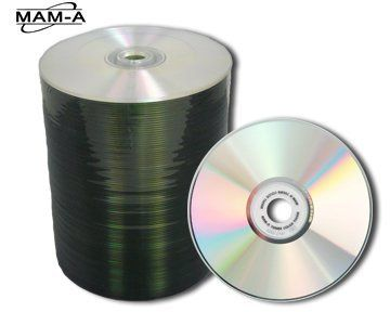 "MAM-A CDR80S/Silver/Blank/80Min 700MB 100 Pack by MAM-A (Formerly MITSUI). $50.00. Mitsui/MAM-A 80m Silver Thermal Approved for Color in Shrink Wrap   This disc has a silver ""Diamond Coat"" top surface, and a Silver (Phthalocyanine) recording surface, with a maximum recording speed of 52x. It will work with Rimage Prism and Primera Inscripta printers. Its packaged in 100 pc shrink wrap, and in master cartons of 600 pcs. This product is not designed to work in a Rimage Ever..."