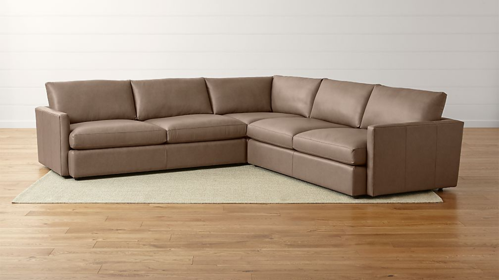 Lounge Ii Three Piece Leather Sectional Sofa Crate And Barrel Family Room Sectional Sectional Sofa 3 Piece Sectional Sofa