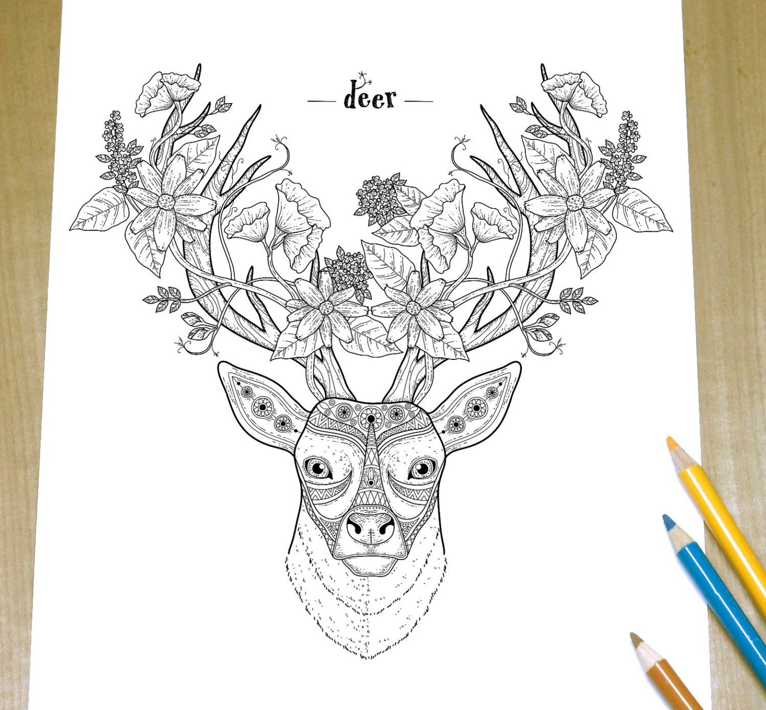 Floral Deer Adult Coloring Page Print Adult coloring Animal