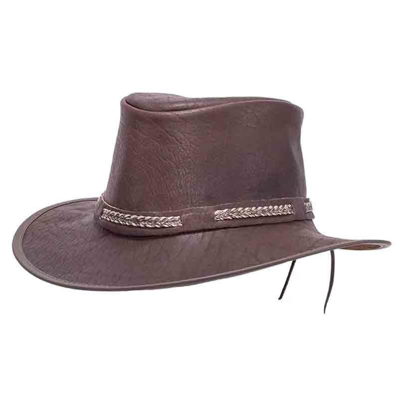 Head N Home Bison Buffalo Leather Aussie Outback Hat Up To Xxl Brown Buffalo Leather Leather Outback Hat