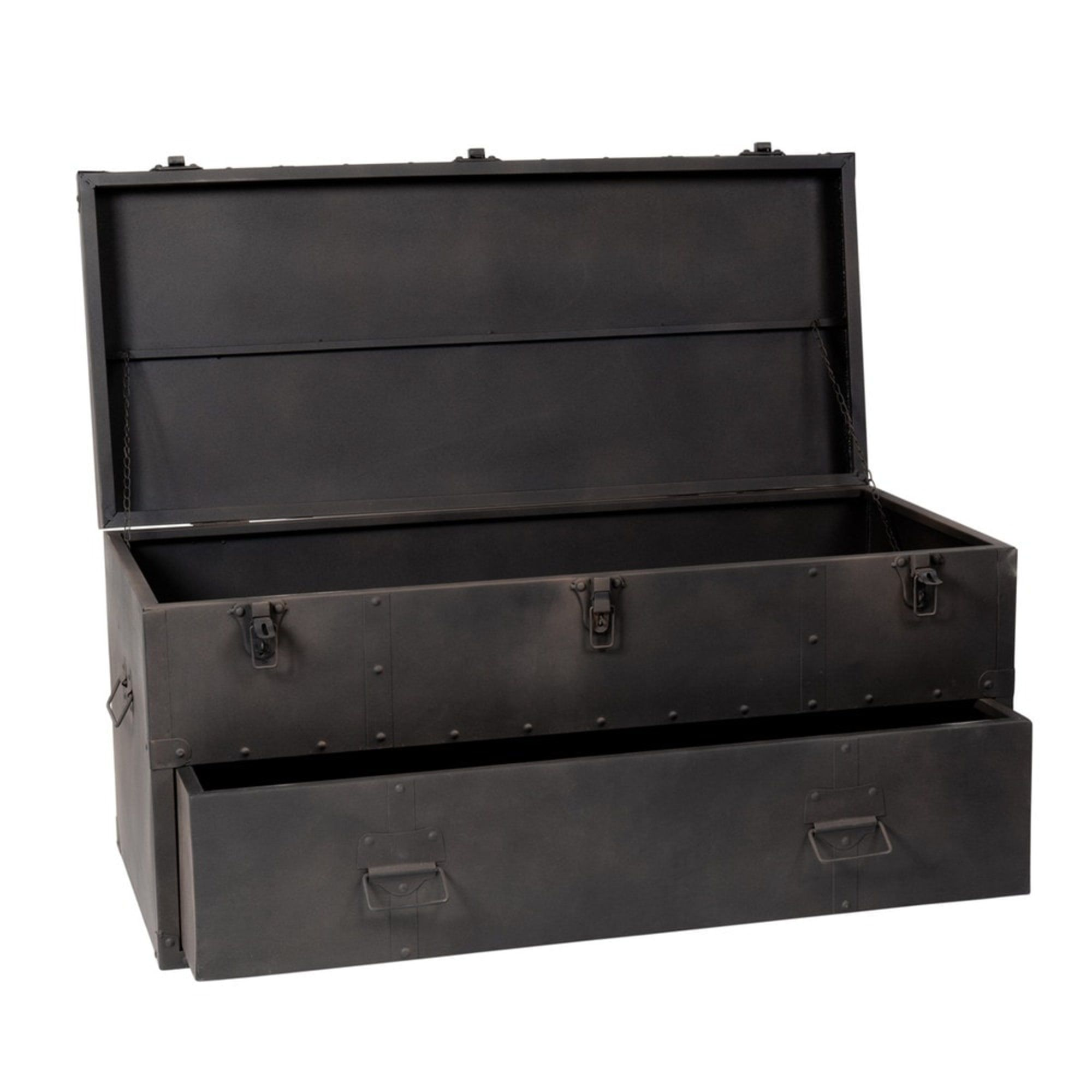 Metal Trunk In Charcoal Grey W 89cm Maisons Du Monde Malle En Metal Malle Metallique Malle De Rangement