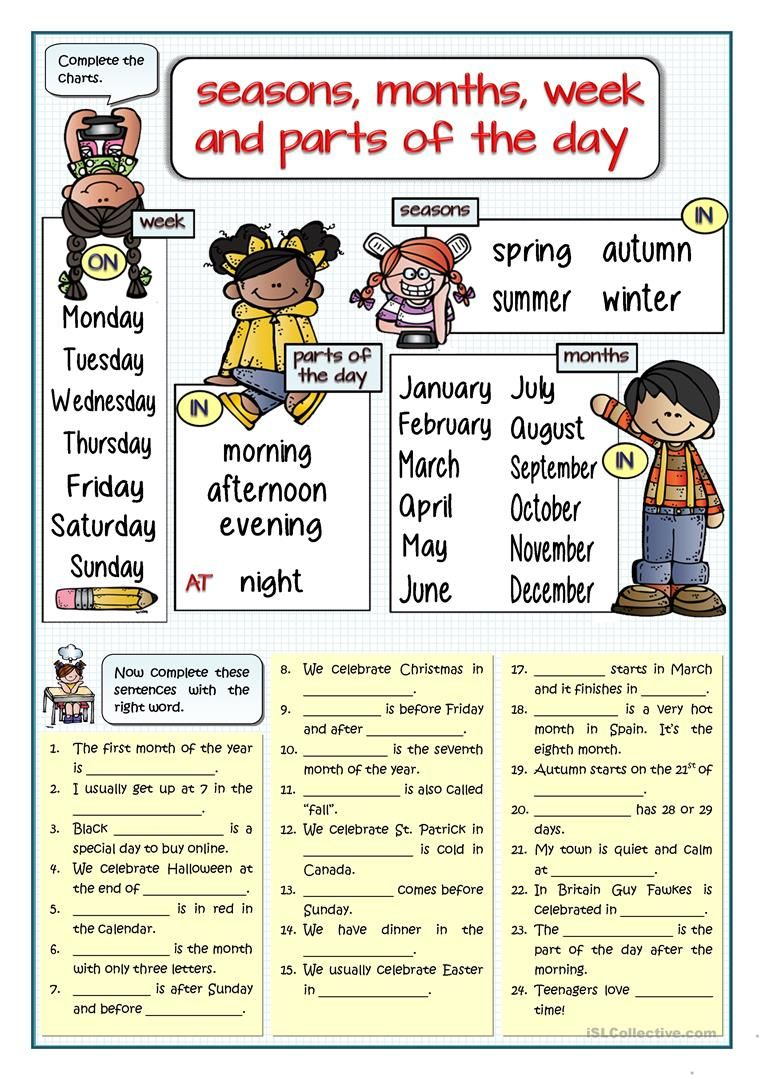 SEASONS, MONTHS, WEEK, PARTS OF THE DAY - FILL IN THE GAPS worksheet ...