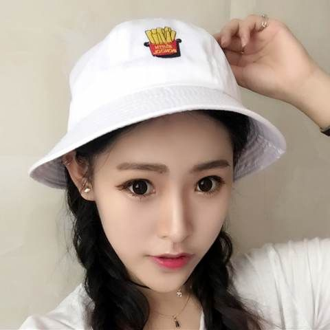 fd4d3f946 French fries embroidered bucket hat for girls summer sun protection ...