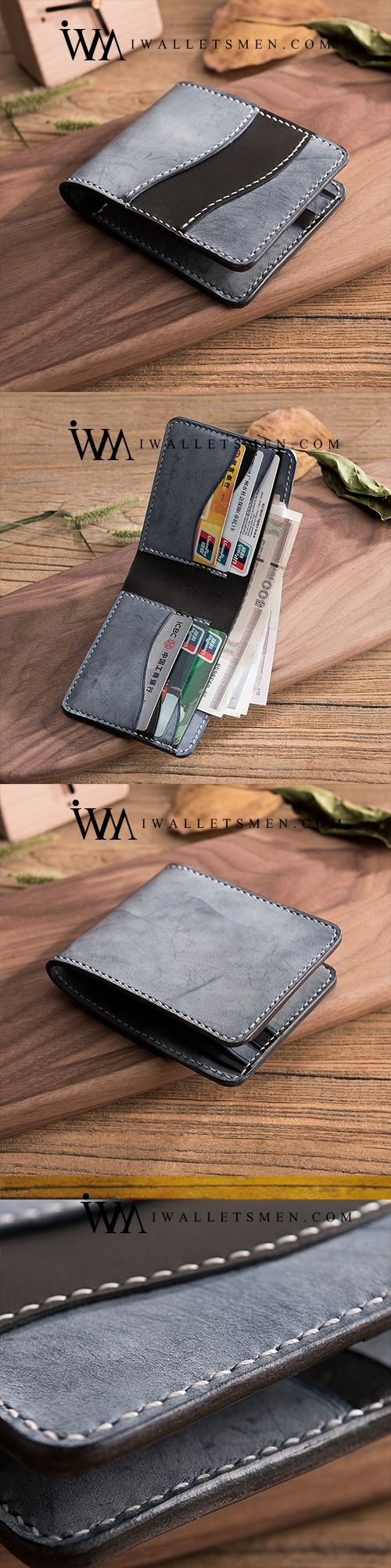 Handmade Leather Mens Cool Slim Leather Wallet Men Small Wallets Bifold for Men #leatherwallets