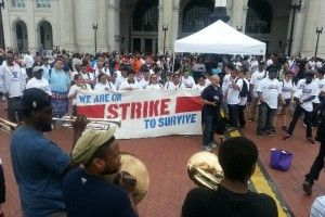 Hundreds of low-wage federally contracted workers strike in D.C.