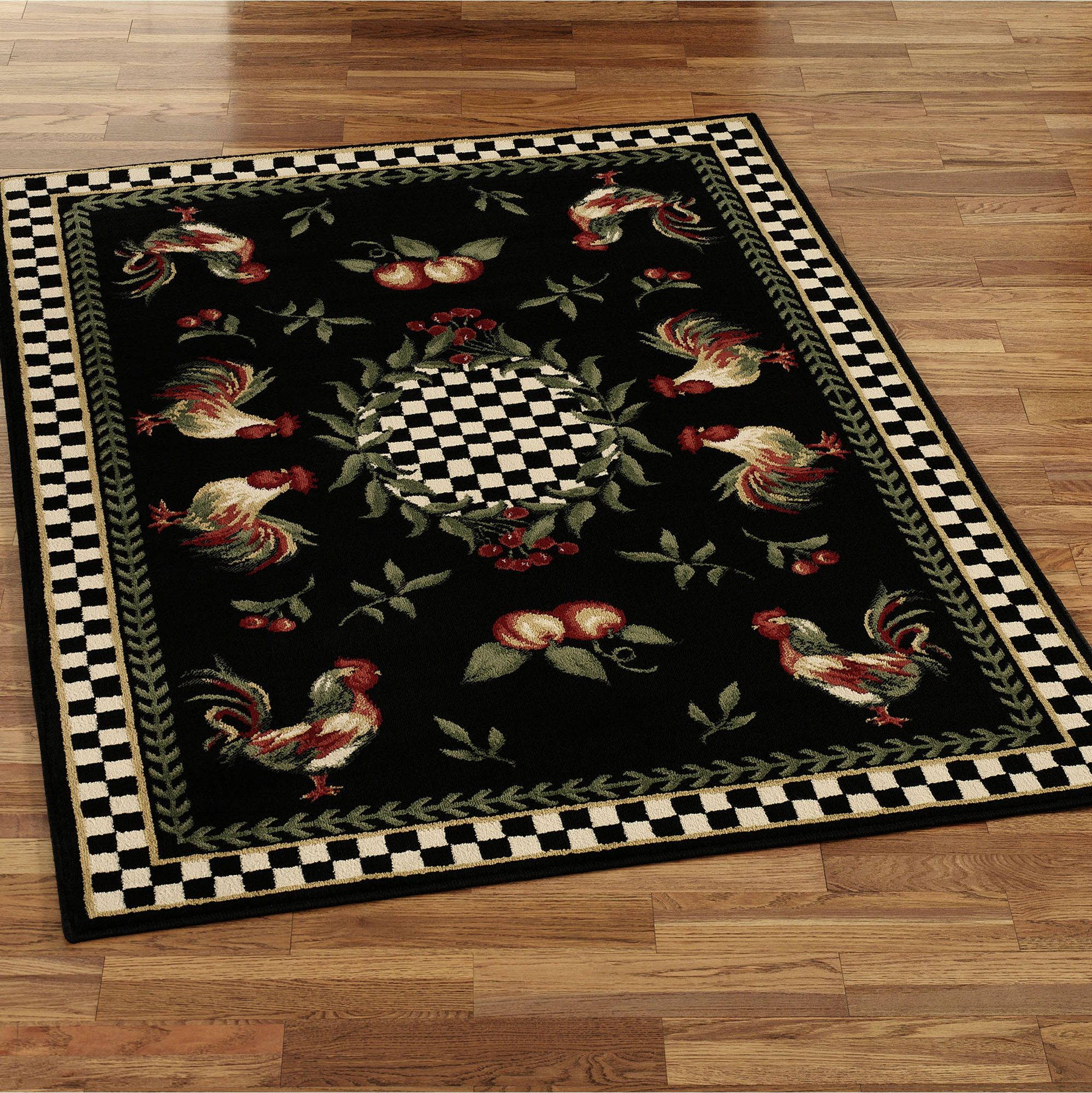 Avalon Collection Country Rooster Area Rug Multi Decor