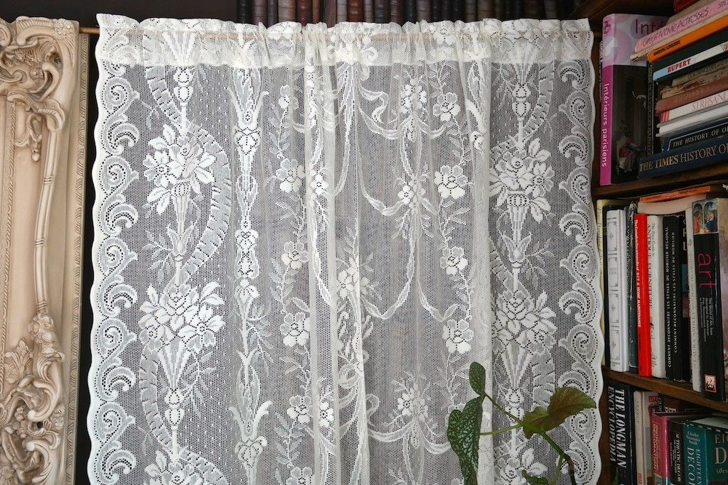 ALEXANDRA Victorian Style Cream Cotton Lace Curtain Panelling 60 Wide