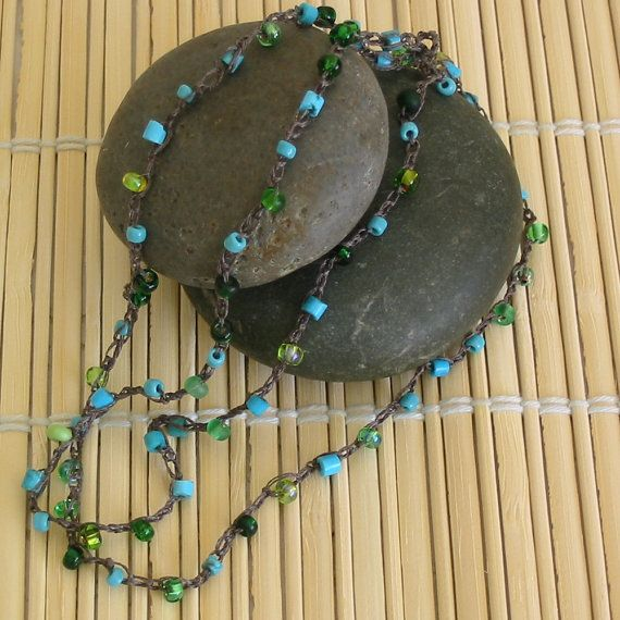 Beaded crochet necklace blue and green glass by Allthingsbeaded2, $20.00