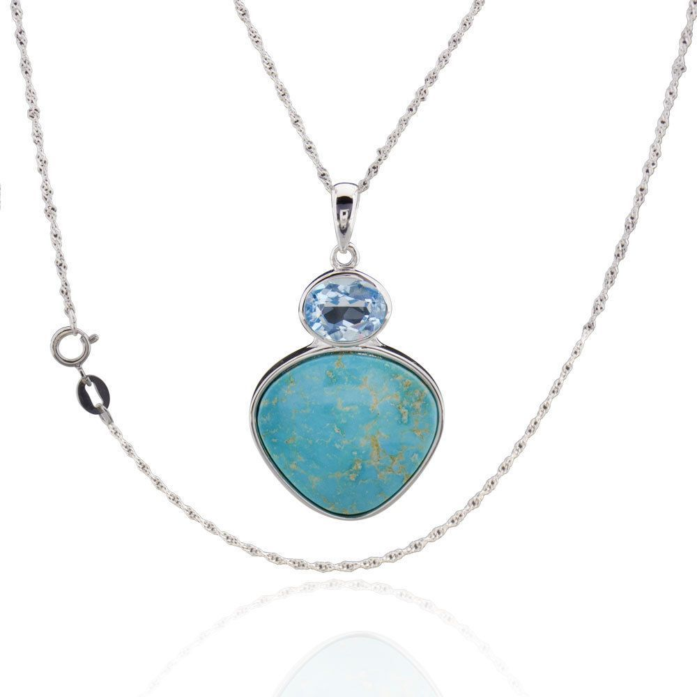 FD Sterling Silver Trillion Turquoise and Blue Topaz 18-inch Singapore Chain Necklace (Silver Trillion Turquoise Necklace 18 chain), Women's, Size: 18 Inch (Metal)