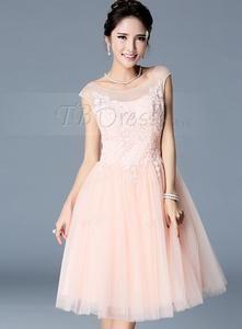 Temmelig A-linje Scoop Tulle Applique brudepige kjole