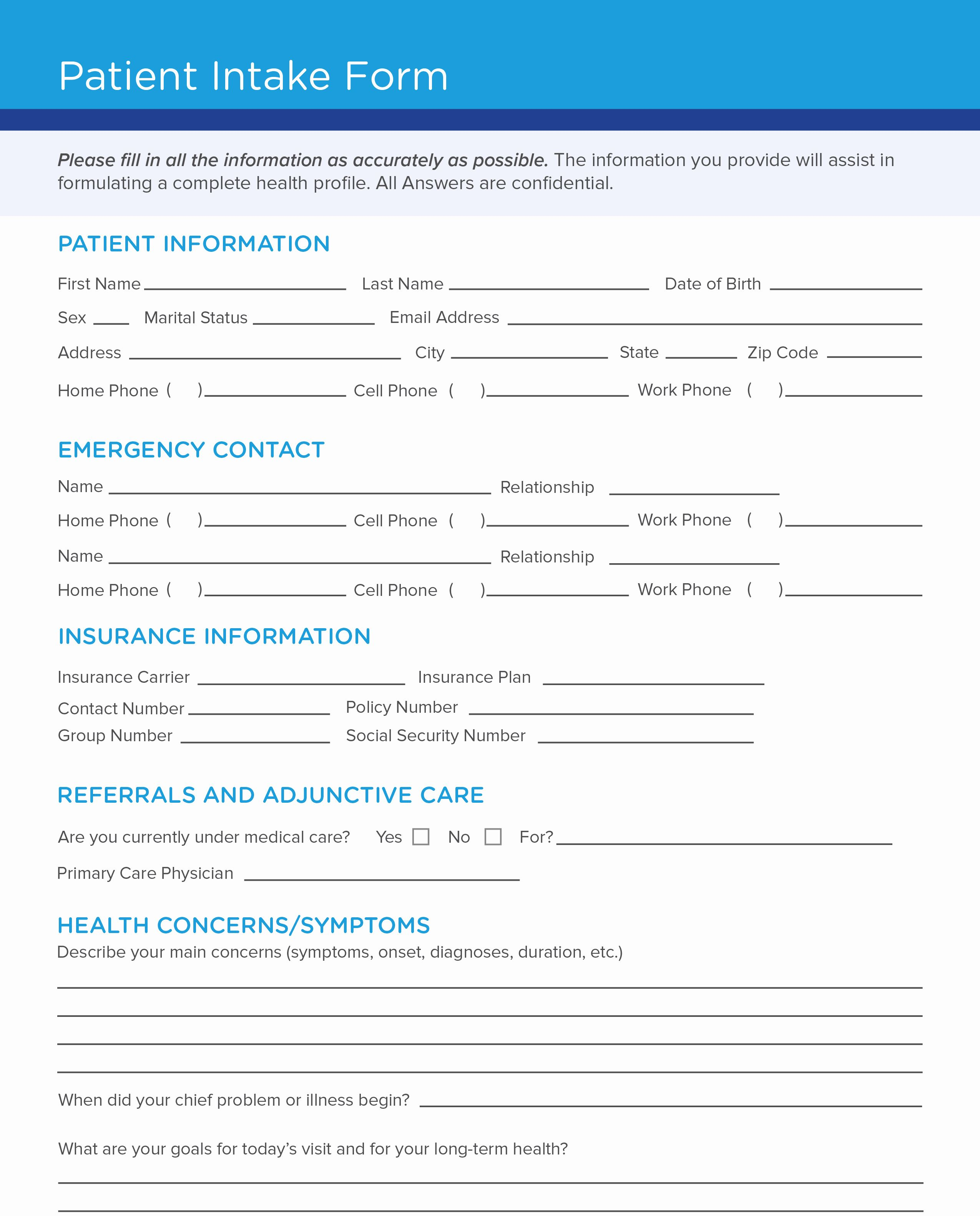 Intake Form Template Word Beautiful Free Patient Intake Form Template Templates Treatment Plan Template Business Template