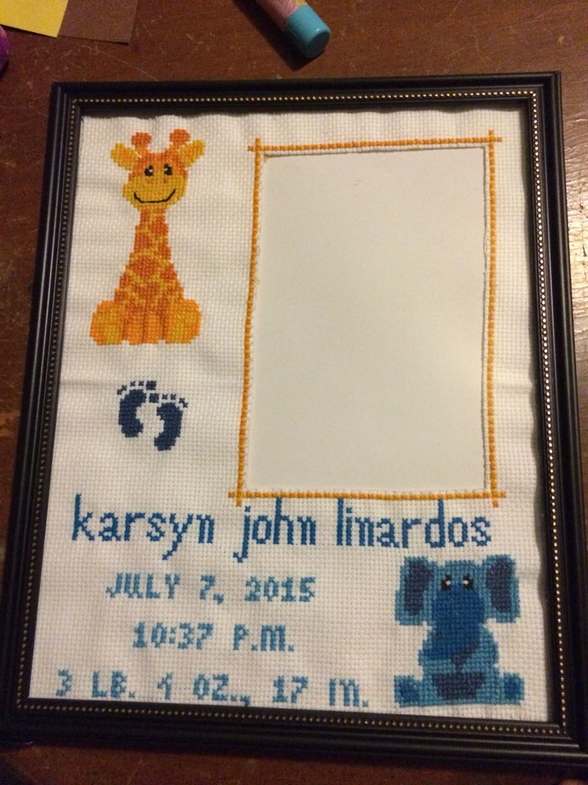 Birth announcement picture frame. Cross stitched. | My Creations ...
