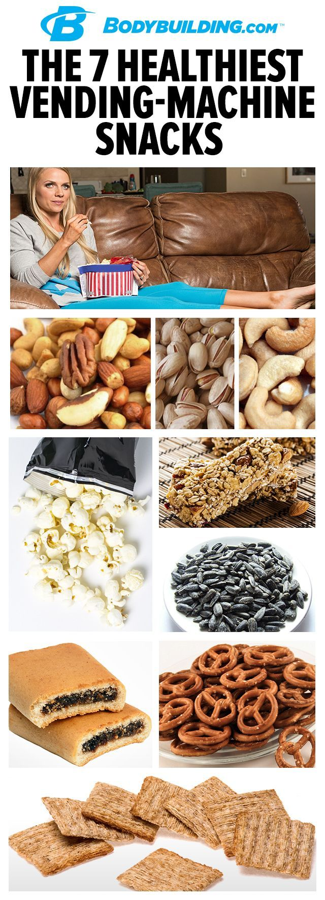 7 Healthiest Vending-Machine Snacks. When a snack attack strikes, our picks for the healthiest machine cuisine are less hazardous to your hard-earned physique—if you can resist all the junk.