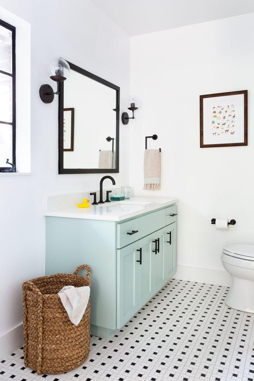 Light Blue Robins Egg Blue Vanity Color With Black And White Basketweave Floor Tile Black Fixtures Trendy Bathroom Tiles Light Blue Bathroom Blue Bathroom