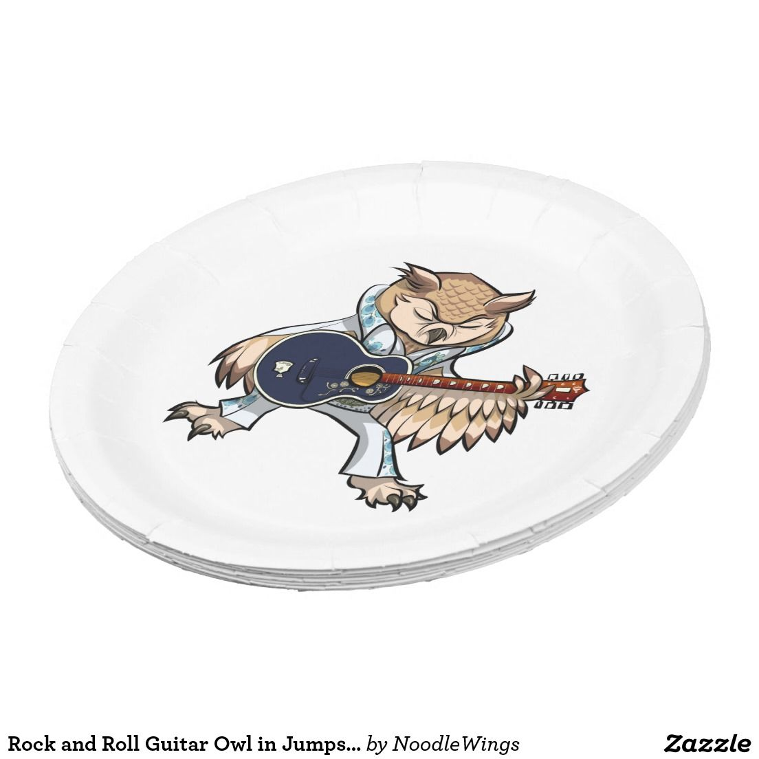 Rock and roll guitar owl in jumpsuit cartoon all party stuff