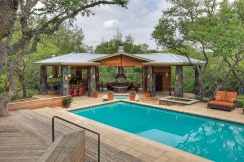 Outdoor Kitchen Beside Pool Under Cover Outdoor Gazebos Pool Houses Pool House Designs