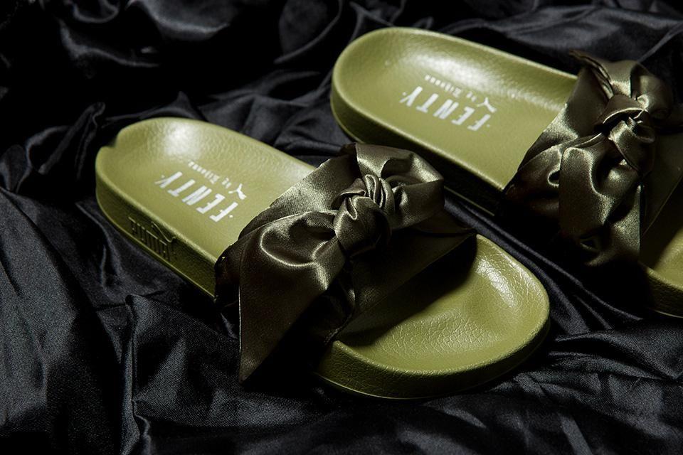 on sale 5ed3c f35cf FENTY X Puma Bow Slide Collab By Rihanna Ladies Olive Branch ...