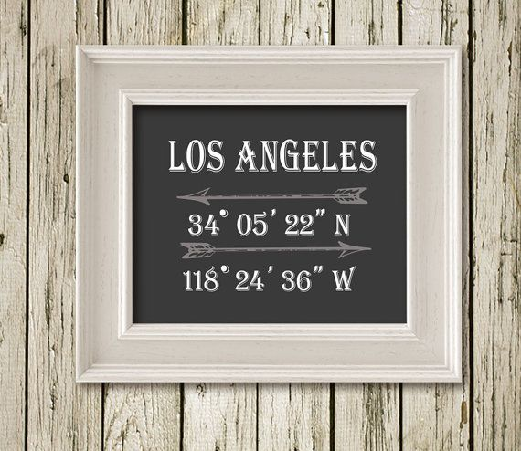 Los Angeles Coordinates Latitude Longitude Print Typography Poster Home Decor  Wall Art C013