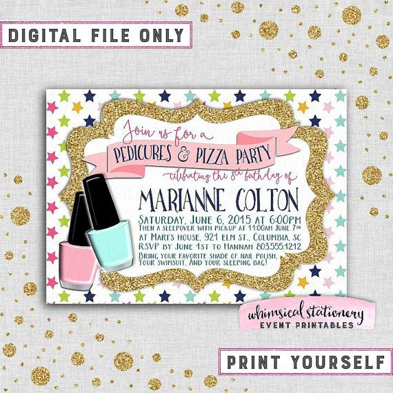 "Nail Polish Bottles Fun Sleepover Games And Sleepover: Birthday Party Invitation ""Pedicures & Pizza"" (Printable"